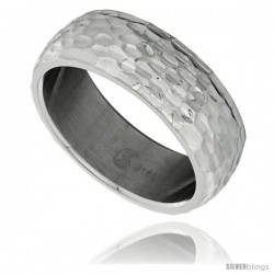Surgical Steel Domed 8mm Wedding Band Ring Hammered Finish Comfort-Fit