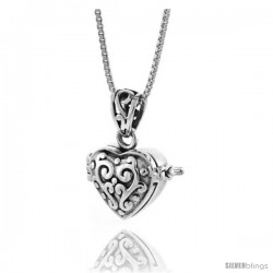 Sterling Silver Heart Shaped Prayer Box with Floral Design