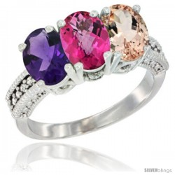 14K White Gold Natural Amethyst, Pink Topaz & Morganite Ring 3-Stone 7x5 mm Oval Diamond Accent