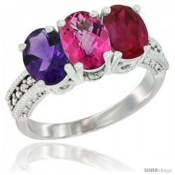 14K White Gold Natural Amethyst, Pink Topaz & Ruby Ring 3-Stone 7x5 mm Oval Diamond Accent