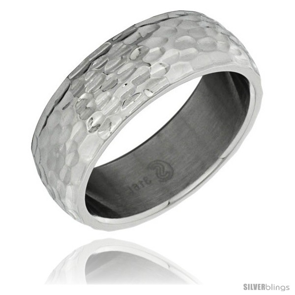 surgical steel domed 8mm wedding band ring hammered finish