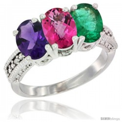 14K White Gold Natural Amethyst, Pink Topaz & Emerald Ring 3-Stone 7x5 mm Oval Diamond Accent