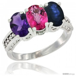 14K White Gold Natural Amethyst, Pink Topaz & Blue Sapphire Ring 3-Stone 7x5 mm Oval Diamond Accent