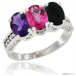 14K White Gold Natural Amethyst, Pink Topaz & Black Onyx Ring 3-Stone 7x5 mm Oval Diamond Accent