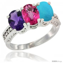 14K White Gold Natural Amethyst, Pink Topaz & Turquoise Ring 3-Stone 7x5 mm Oval Diamond Accent