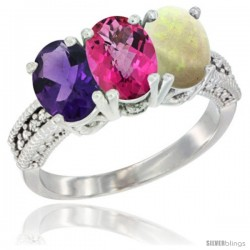 14K White Gold Natural Amethyst, Pink Topaz & Opal Ring 3-Stone 7x5 mm Oval Diamond Accent