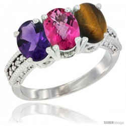 14K White Gold Natural Amethyst, Pink Topaz & Tiger Eye Ring 3-Stone 7x5 mm Oval Diamond Accent
