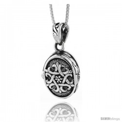 Sterling Silver Oval Shaped Prayer Box with Star of David