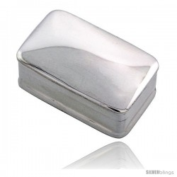 "Sterling Silver Pill Box, 1 1/16"" x 5/8"" (27 mm X 17 mm) Rectangular Shape, High Polished Finish"