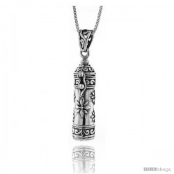 Sterling Silver Prayer Box Tubular Shape with floral Design