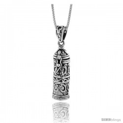Sterling Silver Prayer Box Tubular Shape with floral Design -Style Pb43