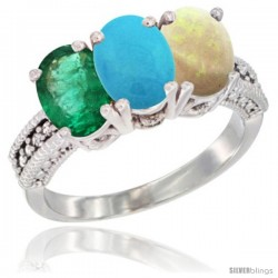 10K White Gold Natural Emerald, Turquoise & Opal Ring 3-Stone Oval 7x5 mm Diamond Accent