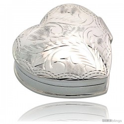 "Sterling Silver Pill Box, 1 1/4"" x 1 1/4"" (32 mm x 32 mm) Heart Shape, Engraved Finish"
