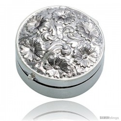 "Sterling Silver Pill Box, 1 3/16"" (30 mm) Round Shape, Embossed Finish"