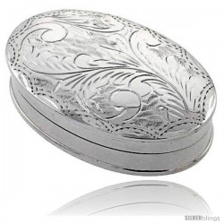 """Sterling Silver Pill Box, 1 7/8"""" x 1 1/4"""" (48 mm x 32 mm) Oval Shape, Engraved Finish"""