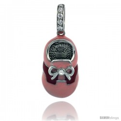 Sterling Silver Pink & Red Enamel Baby Shoe Pendant w/ CZ Stones, 7/8 in. (23 mm) tall