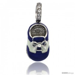 Sterling Silver Blue & White Enamel Baby Shoe Pendant w/ CZ Stones, 7/8 in. (23 mm) tall