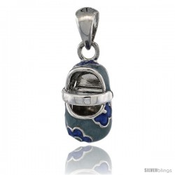 Sterling Silver Floral Blue Enamel Baby Shoe Pendant, 9/16 in. (15 mm) tall