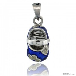 Sterling Silver Floral Blue & White Enamel Baby Shoe Pendant, 9/16 in. (15 mm) tall