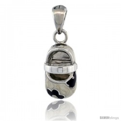 Sterling Silver Floral White & Black Enamel Baby Shoe Pendant, 9/16 in. (15 mm) tall
