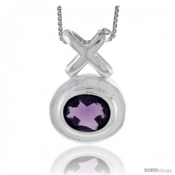 "High Polished Sterling Silver 1 1/16"" (28 mm) tall Hugs & Kisses Pendant, w/ Oval Cut 11x9mm Amethyst-colored CZ Stone, w/ 18"""