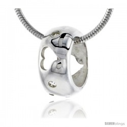 """High Polished Sterling Silver 7/16"""" (11 mm) tall Round Pendant Slide, w/ Heart Cut Outs & Brilliant Cut CZ Stones, w/ 18"""" Thin"""