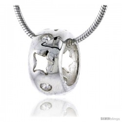 "High Polished Sterling Silver 7/16"" (11 mm) tall Round Pendant Slide, w/ Star Cut Outs & Brilliant Cut CZ Stones, w/ 18"" Thin"