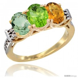 10K Yellow Gold Natural Green Amethyst, Peridot & Whisky Quartz Ring 3-Stone Oval 7x5 mm Diamond Accent