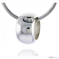 "High Polished Sterling Silver 3/8"" (10 mm) tall Plain Barrel Pendant Slide, w/ 18"" Thin Box Chain"