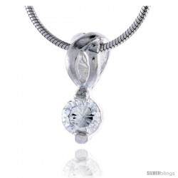 "High Polished Sterling Silver 9/16"" (14 mm) tall Pendant, w/ 5mm Brilliant Cut CZ Stone, w/ 18"" Thin Box Chain"