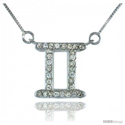 "Sterling Silver Zodiac Sign Gemini Pendant Necklace, "" The Twins "" Astrological Sign ( May 20 - Jun 20 ), 3/4 in. (19 mm) tall"