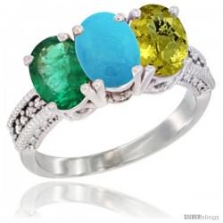 10K White Gold Natural Emerald, Turquoise & Lemon Quartz Ring 3-Stone Oval 7x5 mm Diamond Accent