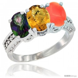14K White Gold Natural Mystic Topaz, Whisky Quartz & Coral Ring 3-Stone 7x5 mm Oval Diamond Accent