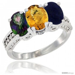 14K White Gold Natural Mystic Topaz, Whisky Quartz & Lapis Ring 3-Stone 7x5 mm Oval Diamond Accent