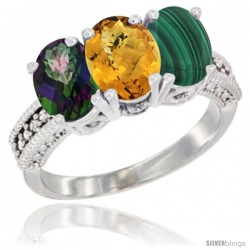 14K White Gold Natural Mystic Topaz, Whisky Quartz & Malachite Ring 3-Stone 7x5 mm Oval Diamond Accent