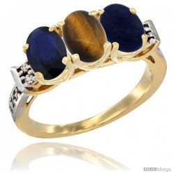 10K Yellow Gold Natural Blue Sapphire, Tiger Eye & Lapis Ring 3-Stone Oval 7x5 mm Diamond Accent