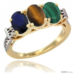 10K Yellow Gold Natural Blue Sapphire, Tiger Eye & Malachite Ring 3-Stone Oval 7x5 mm Diamond Accent