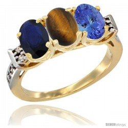 10K Yellow Gold Natural Blue Sapphire, Tiger Eye & Tanzanite Ring 3-Stone Oval 7x5 mm Diamond Accent