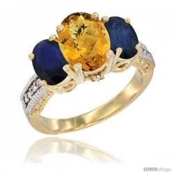 10K Yellow Gold Ladies 3-Stone Oval Natural Whisky Quartz Ring with Blue Sapphire Sides Diamond Accent