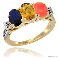 10K Yellow Gold Natural Blue Sapphire, Whisky Quartz & Coral Ring 3-Stone Oval 7x5 mm Diamond Accent