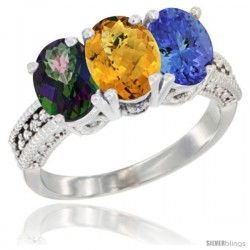 14K White Gold Natural Mystic Topaz, Whisky Quartz & Tanzanite Ring 3-Stone 7x5 mm Oval Diamond Accent