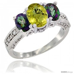 14k White Gold Ladies Oval Natural Lemon Quartz 3-Stone Ring with Mystic Topaz Sides Diamond Accent
