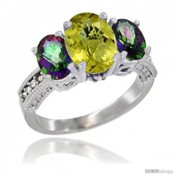 14K White Gold Ladies 3-Stone Oval Natural Lemon Quartz Ring with Mystic Topaz Sides Diamond Accent
