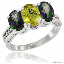 14K White Gold Natural Lemon Quartz & Mystic Topaz Sides Ring 3-Stone 7x5 mm Oval Diamond Accent