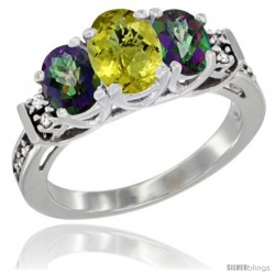 14K White Gold Natural Lemon Quartz & Mystic Topaz Ring 3-Stone Oval with Diamond Accent