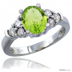 10K White Gold Natural Peridot Ring Oval 9x7 Stone Diamond Accent