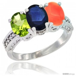 10K White Gold Natural Peridot, Blue Sapphire & Coral Ring 3-Stone Oval 7x5 mm Diamond Accent