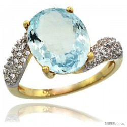 14k Gold Natural Aquamarine Ring 12x10 mm Oval Shape Diamond Halo, 1/2inch wide