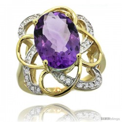 14k Gold Natural Amethyst Floral Design Ring 13x 19 mm Oval Shape Diamond Accent, 7/8inch wide