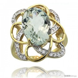 14k Gold Natural Green Amethyst Floral Design Ring 13x 19 mm Oval Shape Diamond Accent, 7/8inch wide
